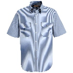 Mens 65/35 Mock Oxford Short Sleeve Striped Dress Uniform Shirt
