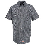 Mens 65/35 Poplin Short Sleeve Micro-Check Work Shirt