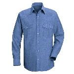 Mens 65/35 Chambray Western Style L/S Uniform Shirt