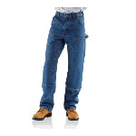Double Front Logger Dungaree, Washed Denim